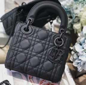 Dior磨砂黑三格戴妃包迪奥全黑磨砂系列包包